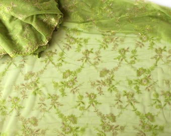 Lime Green Lace Fabric by the yard, Mother of the Bride Dress Fabric, Scalloped Lace Fabric, Sweet 16th Birthday dress, Custom dress fabric