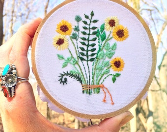 "Sunflower bouquet 4"" embroidery"