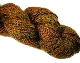 Hand dyed and hand spun two ply worsted weigh yarn, 155 yards,for knitting and crcheting