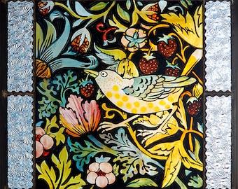Bird stained glass, handpainted, kilnfired glass, bird suncatcher, arts & crafts, strawberry robber, William Morris, Vogel Glasmalerei, gift