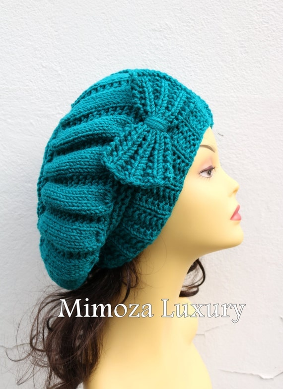 Teal Green Woman Hand Knitted Hat with Bow, teal Beret hat with bow, teal knit hat, slouchy knit women's hat with bow, winter hat, teal hat