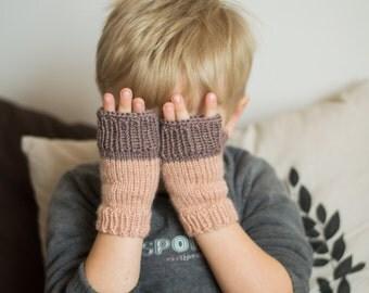 Beige kids arm warmers, children arm warmers, kids fingerless gloves, kids wrist warmers, beige kids mittens, fingerless, onward onward