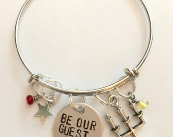 """Disney Beauty and the Beast Inspired Hand-Stamped Bangle Bracelet - """"Be Our Guest"""""""