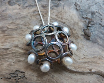 Sterling silver oxidized with cultured pearls pendant