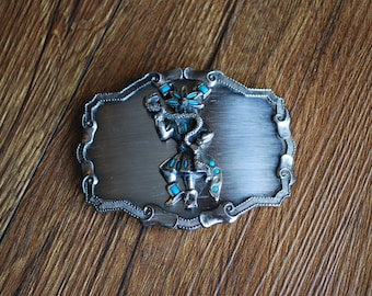 Vintage Indian Native American Dancing with Snake Belt Buckle - Turquoise