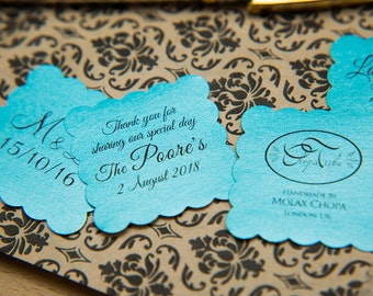 "150 Turquoise Pearlised 1.5 inch Square Shiny Stickers, Envelope Seals. Custom Stickers. 1.5"" Save the date stickers. Invitation Seals."