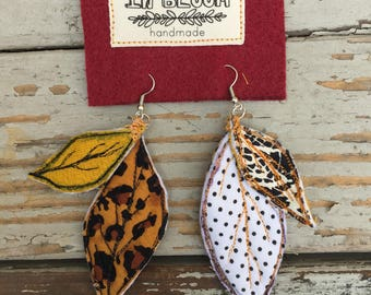 Fabric Earrings Leaf Collection #4