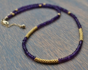 Amethyst Necklace, Amethyst Gemstone Necklace, February Birthstone, Womens Beaded Necklace, Gift For Her, Boho Chic Gemstone Necklace