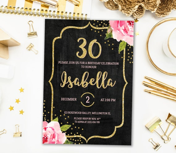 floral 30th birthday invitation for her chalkboard 30th, Birthday invitations