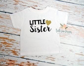 Little Sister White Toddler Tshirt with Gold Glitter Heart | Girl's Toddler Shirt | Big Sister Little Sister | 054