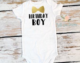 Birthday Boy w Bow Tie Bodysuit   Boy's First Birthday Bodysuit   Baby Boy First Birthday Bow Tie Outfit   Cake Smash Outfit   205B