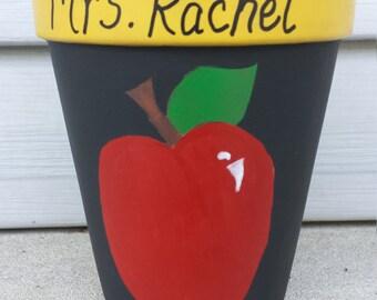 Teacher Gift, Painted Flower Pot, Teacher Pen Holder