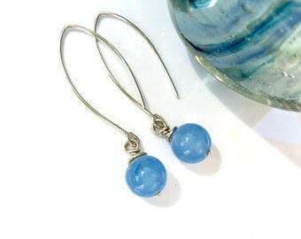 Sterling Silver Earrings Gemstone Earrings Sky Blue Earrings Gift for Her Gift for Girlfriend Gift for Mom Gift for Sister Modern Earrings