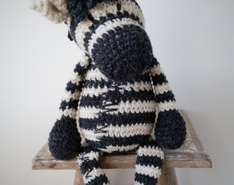 Zoe the Zebra-Crochet Toy-Knitted Toy-Soft Toy-Zebra Toy-Crochet Doll-Stuffed Animal-Natural Toy-Cuddly Toy-Baby Gift-Birthday Gift-Nursery