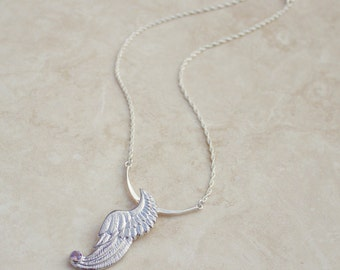 Silver Wing Necklace with Spinel, Handcarved Wing Jewelry, Silver Wing Necklace, Argentium Wing Pendant Silver and Lavender Spinel Necklace