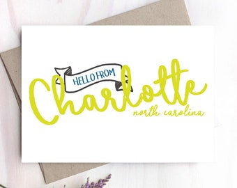 Hello from Charlotte, Charlotte NC Card, Hello Card, Just Because Card - 154C