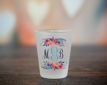 Custom Monogram Shot Glass, Floral Monogram Shot Glass, Personalized Gift, Initials Shooter, Personalized Gift, Monogrammed Shot Glass