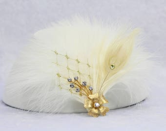 Ivory Bridal feather Fascinator | Wedding Feather Hair clip Bridal Hair Clip Bridal Fascinator Wedding Hair Accessories Bridal Hair Piece