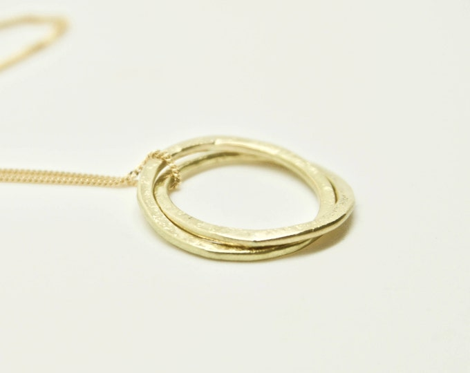 Gold Circles Pendant Necklace - Geometric - 18 Carat Yellow Gold - Interlocking Rings - Double Loop - Two Hoops