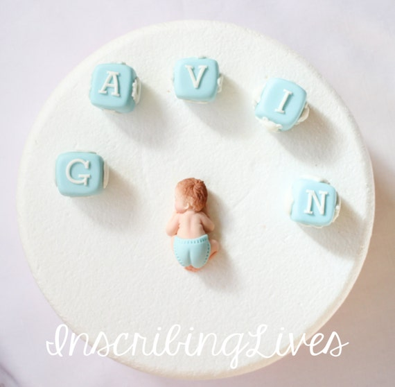 edible fondant letter blocks cake topper 6pcs boy Baby shower