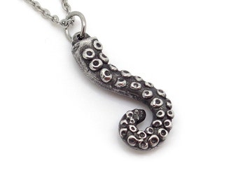 Curved Octopus Tentacle Necklace, Squid Arm Pendant in Handmade Pewter