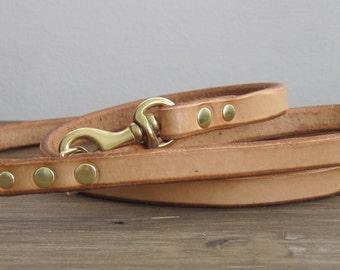 Leather Dog Leash - Narrow Width - Custom Dog Lead - Brass