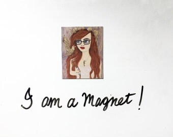 Ariel Magnet: Ariel Inspired Art Magnet, Ariel Little Mermaid Inspired Magnet, Hipster Ariel Magnet, Red Hair Girl with Seagull & Glasses