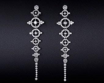 Art Deco Wedding Earrings - Vintage Style Earrings - 1920s Earrings - Bridal Earrings - Long Earrings - Geometric Earrings - Pave - AE0233