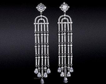 Art Deco Earrings - Chandelier Earrings - Wedding Earrings - Tassel Earrings - Vintage Earrings - Long Earrings - CZ Earrings - Drop -AE0228
