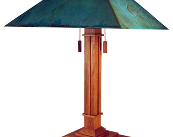Table Lamp -  The Pasadena Mission model, modern  cherry with green copper patina shade