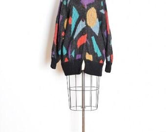 80s sweater coat, geometric sweater, 80s jumper, 80s cardigan, chunky sweater, sweater jacket, 1980s 80s clothing, 80s jacket, L XL