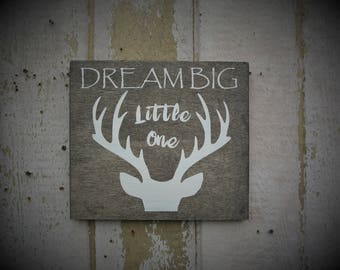 Deer Sign Nursery Rustic Hunting Decor Rustic Baby Shower Baby Boy Gift Wooden Deer Decor Dream