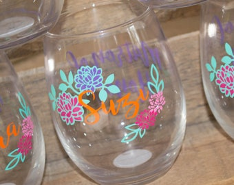Floral Bridal Party Wine Glass set