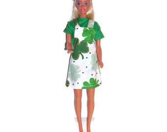 Fashion Doll Clothes-Shamrock Print Jumper & Green Blouse