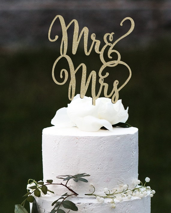 Mr and Mrs Cake Topper, Wedding Cake Topper, Engagement Cake Topper, Bridal Shower Cake Topper, Anniversary Cake Topper, Glitter Cake Topper
