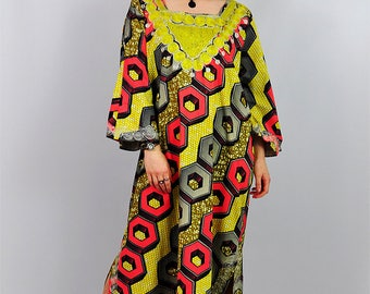 Vintage Abstract Print Hippy Festival Kaftan Maxi Dress