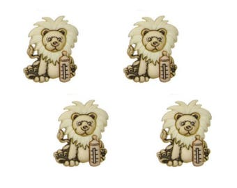Lion Buttons Jesse James Buttons Cute and Cuddly Dress It Up Buttons Set of 4 Shank Back with Baby Bottle - 781 E
