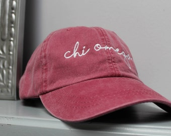 Red Hat Embroidered in White Script