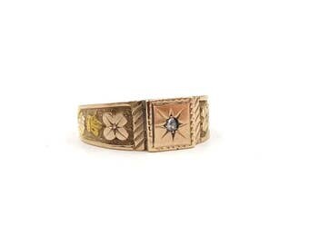 Antique 15ct Gold Diamond Ring | 15k Signet Ring | Victorian Men's Ring | UK size V ~ US size 10 1/2