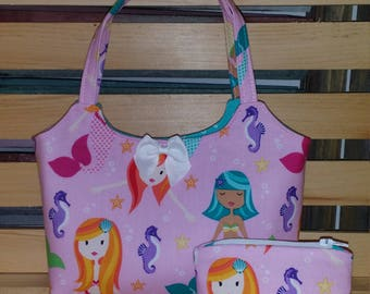 Mermaids in Pink Little Girl Purse, Coin Pouch