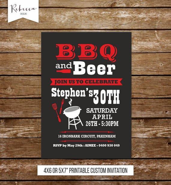 Bbq Birthday Invitation Man 21st Birthday Barbecue Invitation