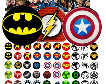 Marvel 12 mm -  1/2 inch or 12 mm Images 4x6 Digital Collage INSTANT DOWNLOAD