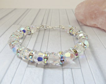 Crystal AB bead bracelet, Swarovski crystal bead bracelet, Bridal jewellery, Crystal bangle, Silver bracelet, Gift for bridesmaid, UK seller