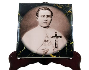 Catholic Saints serie - Saint Damien of Molokai - religious art - handmade ceramic tile - Father Damien -  St Damien - catholic saint