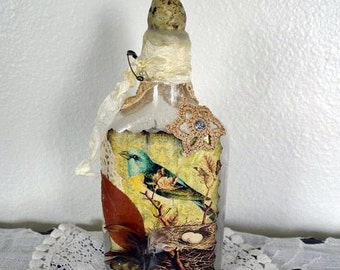 Bottle, Altered art bottle, vintage bottle, upcycled art, vintage, altered art, collectible bottle, mixed media art, bird decor, home decor
