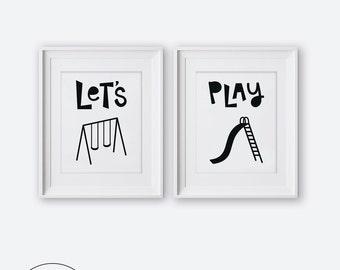 Modern Nursery Wall Art, Let's Play Diptych Two Print Set, Printable Nursery Art, Nursery Decor, Black and White Kids Room Decor