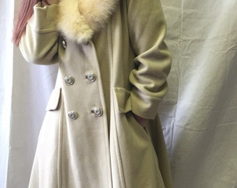 Vintage Ivory Coat with Fox Collar