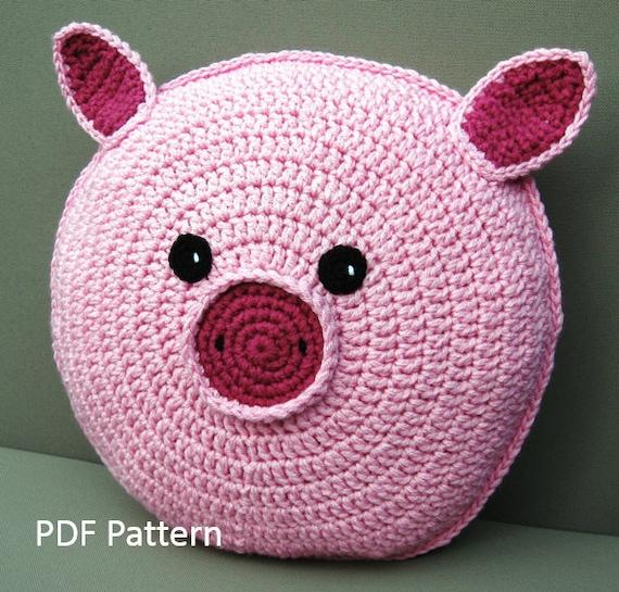 Pig Pillow - Cushion CROCHET PATTERN - crochet patterns for animal pillows - Kids Birthday ...