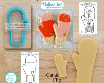 Tall Mitten Cookie Cutter Designed by Melissa Joy Fanciful Cookies - *Sketch to Print Below*