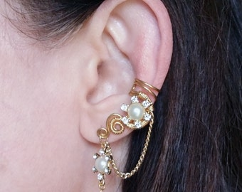 24K Gold Plated Ear Cuff Gold Crystal Flower Ear Wrap with Chain